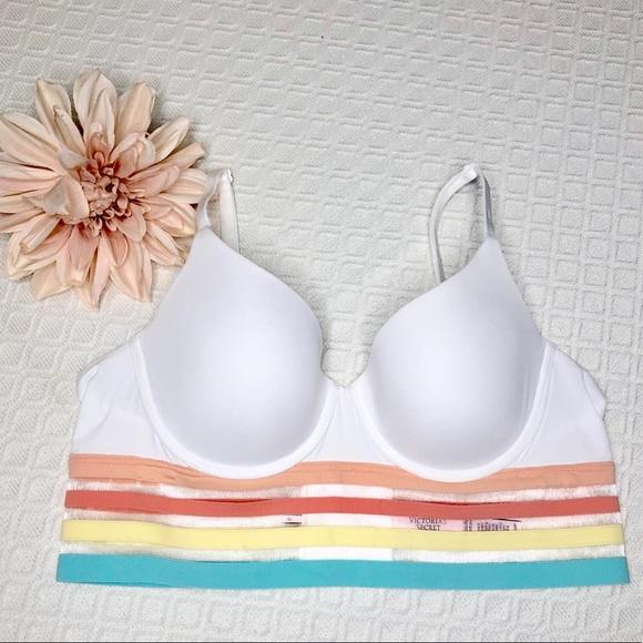 Victoria's Secret Other - VS White Lined T Shirt Bra Longline Pastel Stripes